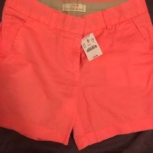 NWT J.Crew coral chino shorts